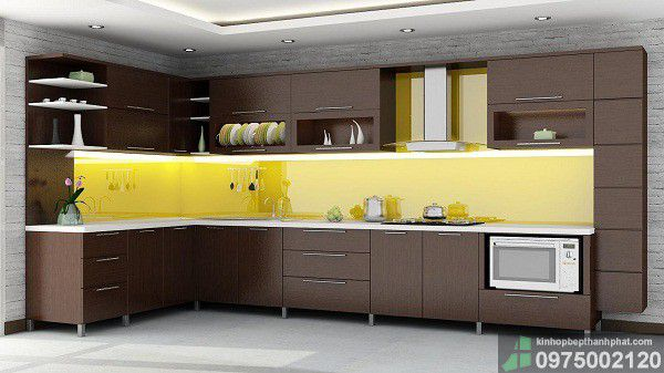 Thời thượng với kính ốp bếp màu vàng chanh