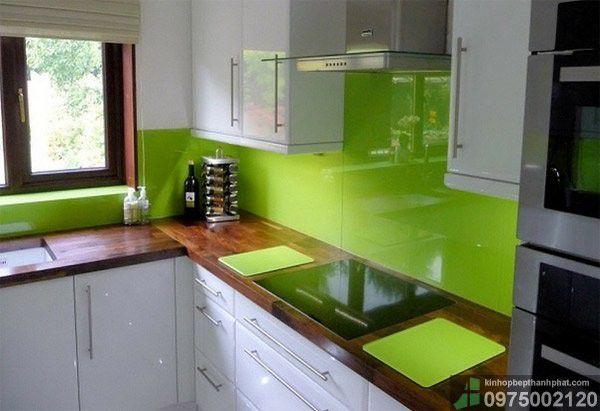 kính ốp bếp màu xanh non