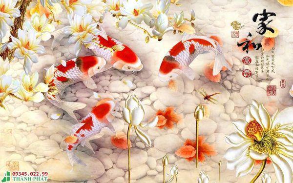 Tranh kính cá chép đẹp