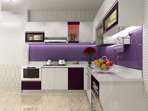 kính màu ốp bếp màu tím