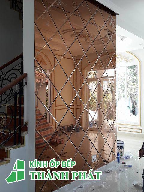 gương dán tường màu trà