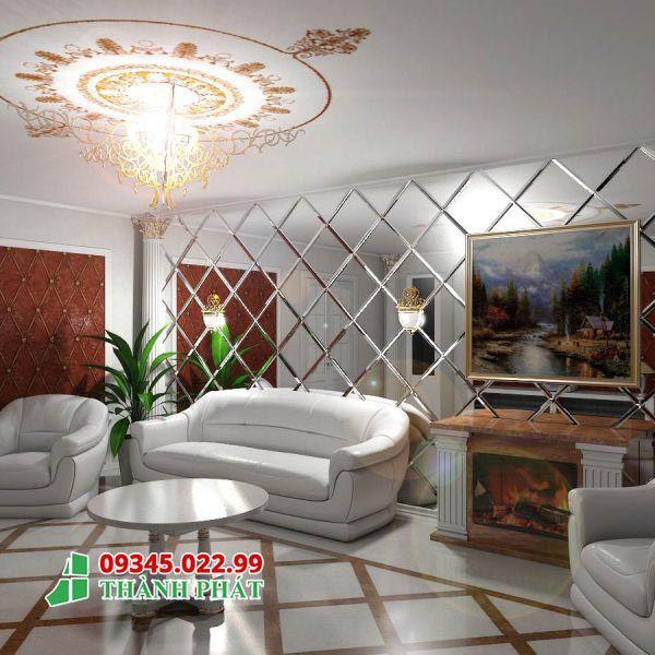 Gương ghép màu trắng trang trí cho phòng khách cực đẹp và ấn tượng
