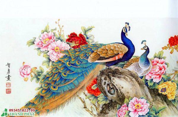 tranh kính chim công