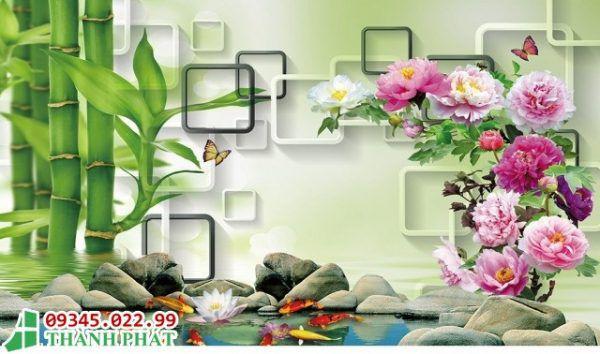 tranh kính hoa mẫu đơn