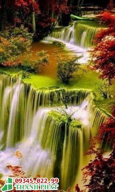 Tranh kính thác nước đẹp