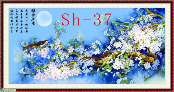Tranh kính hoa và chim đẹp