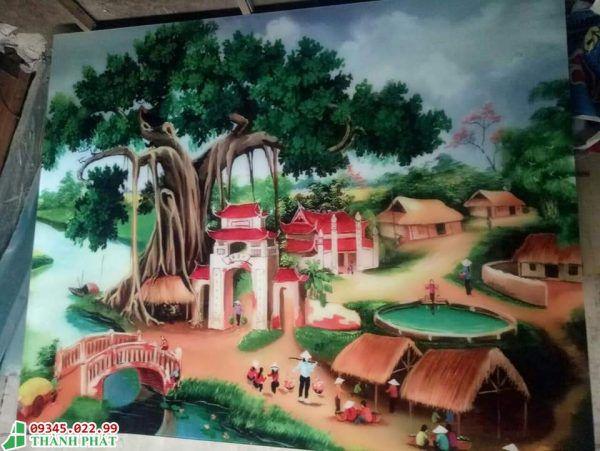 Tranh kính làng quê việt nam