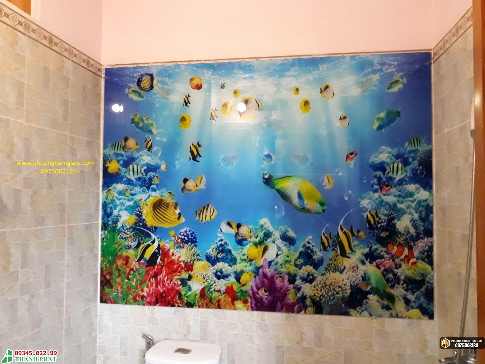 Tranh kính lắp phòng tắm đẹp